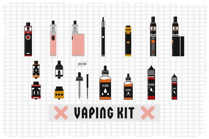 Flat vector illustration of a vaping kit