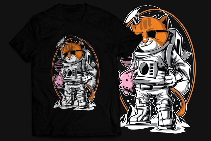 Cat Astronaut T-Shirt Design