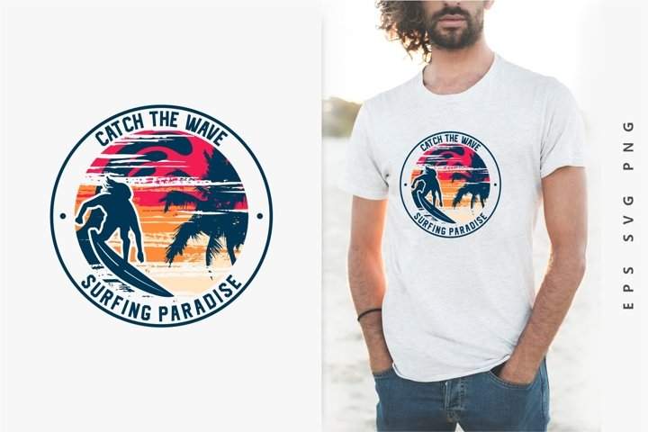 Surfing Paradise Sunset T-shirt Design Vector. eps svg png