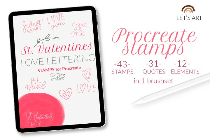 Valentines Day Procreate stamps. Love quotes brushes