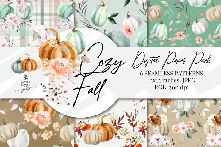 Cozy Fall Digital Paper Pack, Autumn Seamless Patterns