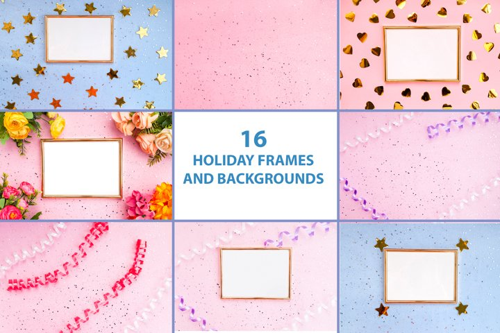 16 Festive frames and backgrounds