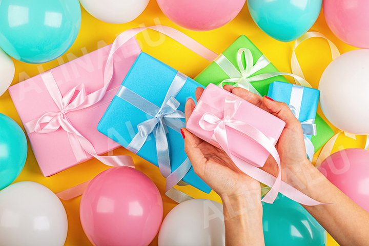 Birthday background with gift boxes