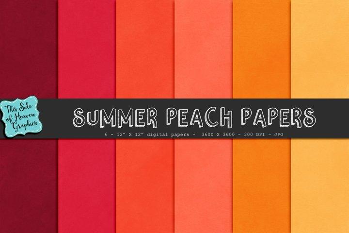 Textured Digital Scrapbook Papers - Summer Peach