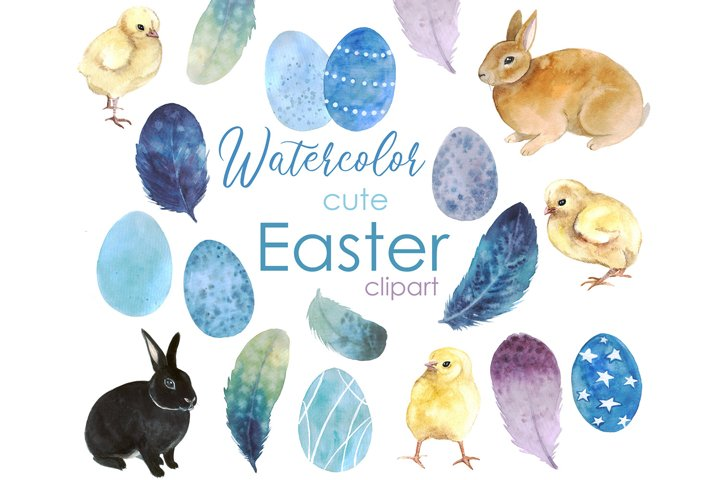 Watercolor Spring Easter Clipart. Easter Cute Rabbit.