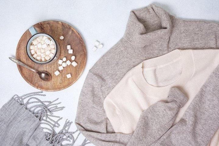 cashmere sweaters and a cup of hot chocolate