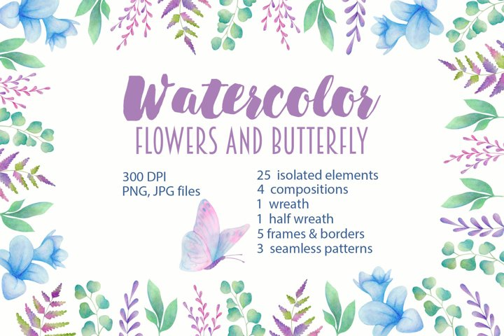 Watercolor flowers and butterfly
