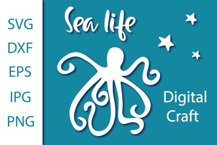 Sea life svg. Digital craft svg. Octopus svg
