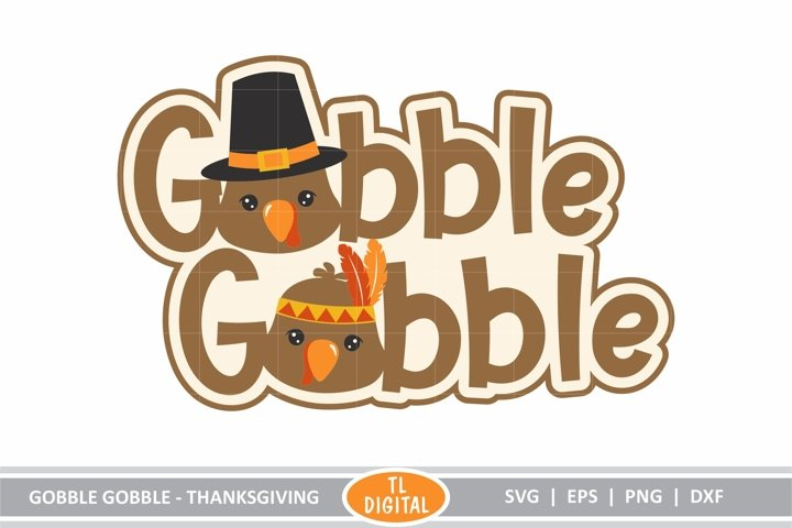 Thanksgiving Cute Gobble Gobble Lettering - SVG|EPS|PNG|DXF
