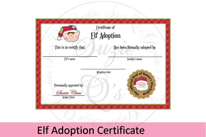 Elf Adoption Certificate 4 x 6inches