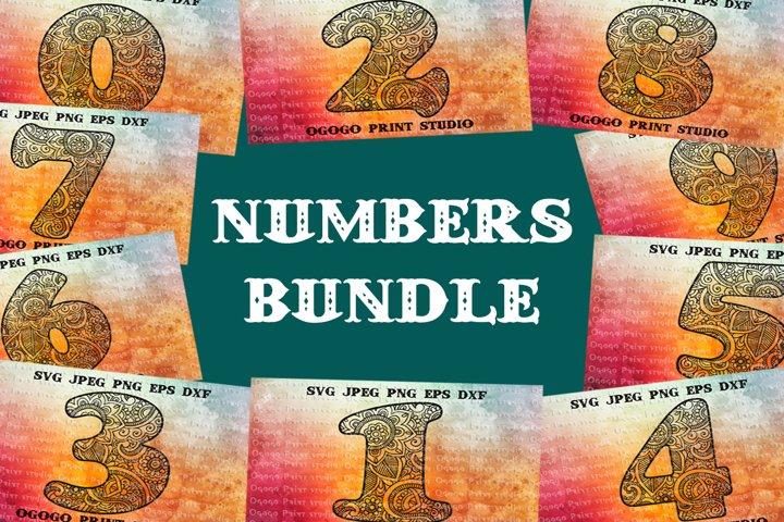 Numbers Svg BUNDLE, Number svg, Mandala svg, Floral font