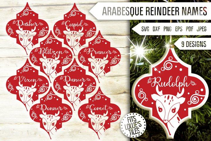 Arabesque Reindeer Names Svg Bundle. Tile Ornament Svg.