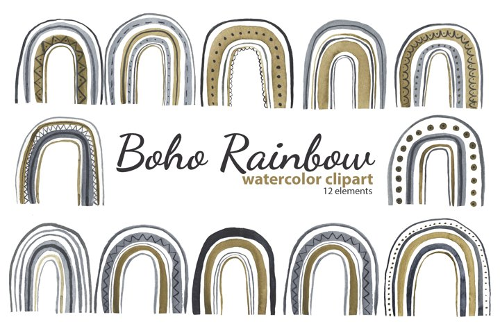 Watercolor Boho Rainbow Clipart