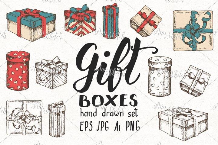 Hand drawn Gift boxes Set