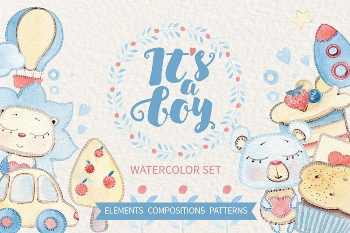 ITS A BOY watercolor set