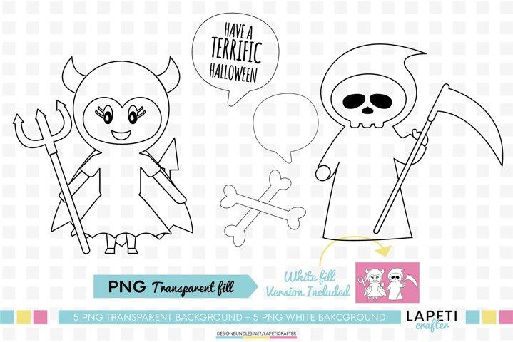 Halloween digi stamp, Halloween for kids coloring png