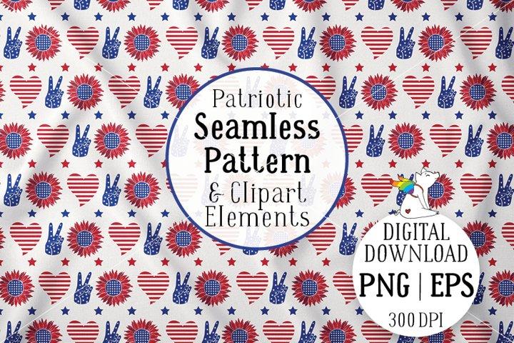 Patriotic Pattern, Sunflower America, 4th of july