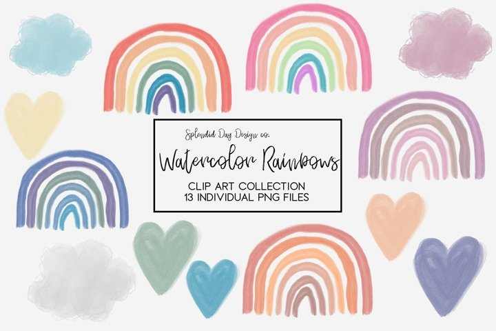 Watercolor Rainbow clip art collection