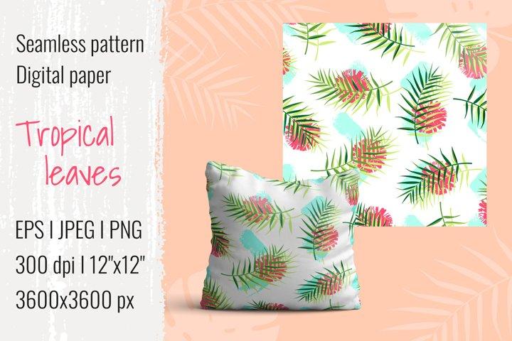 Tropical leaves pattern I Digital paper I EPS JPEG PNG