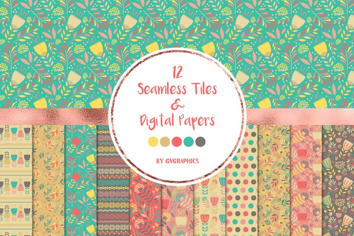 12 Abstract Flowers Seamless tiles and Digital papers