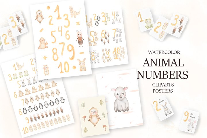 Watercolor Animal Numbers Set
