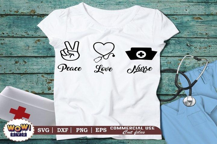 Peace love nurse svg, nurse stethoscope svg, Nursing