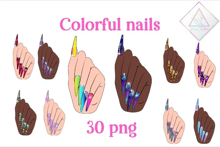 Colorful Nails Clipart