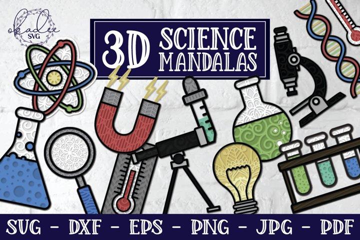 3D Science Mandala SVG Bundle, Science SVG, Chemistry SVG