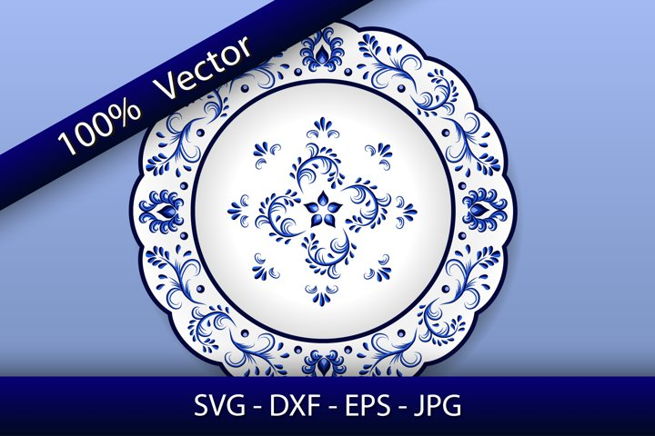 Porcelain Plate decor in Chinese style, blue on white
