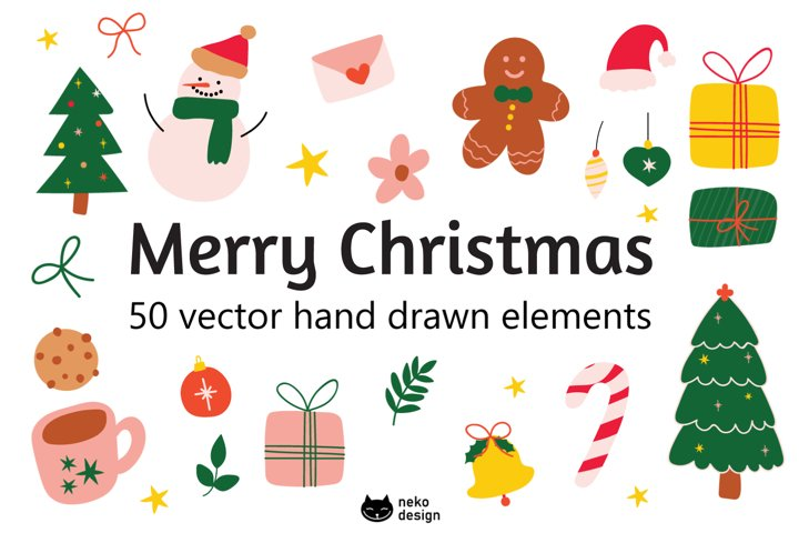 christmas vector hand drawn elements