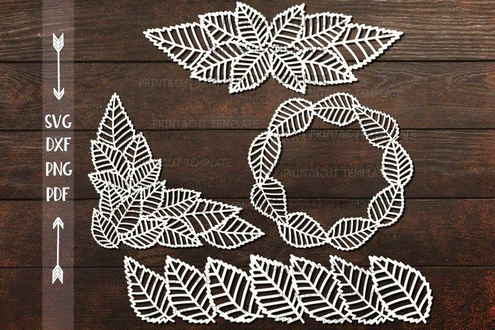 Leaves Monogram Corner Border Divider paper cut svg template