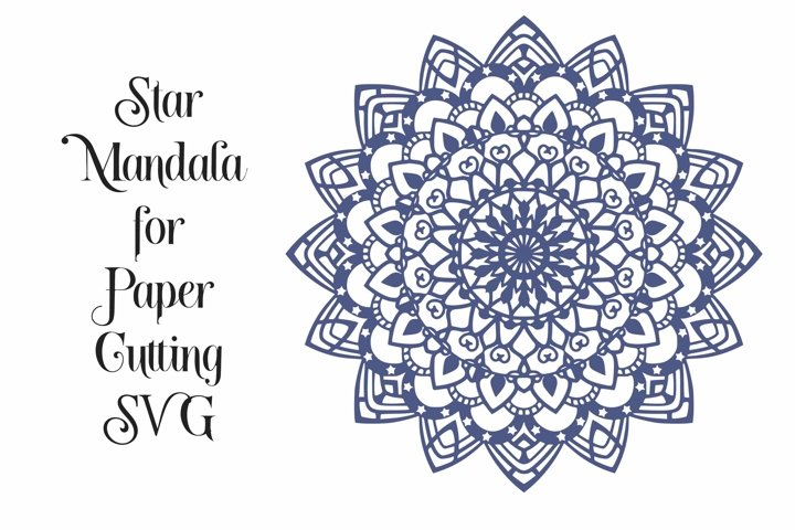 Star Mandala Design for Paper Cutting SVG, PNG, DXF, EPS