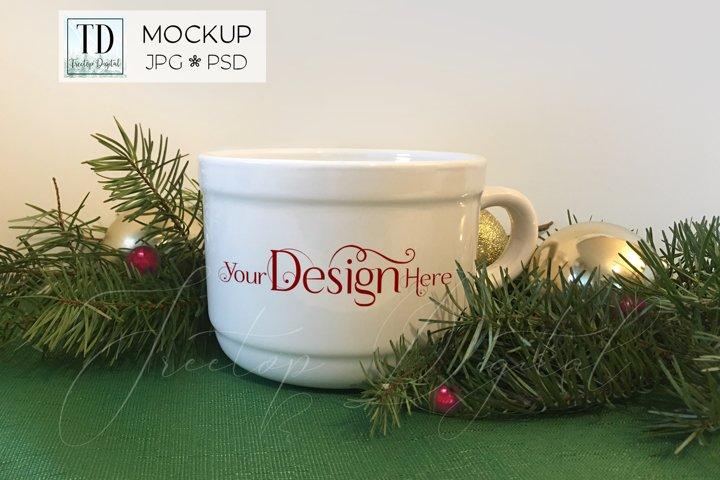 Soup Mug Mockup with Christmas Tree Branches, PSD & JPG