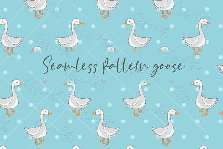 Cute goose seamless pattern