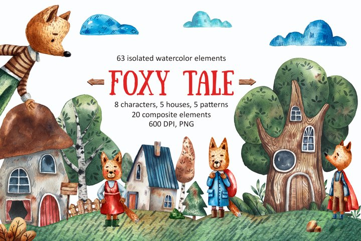Foxy Tale - Watercolor Clip art Set