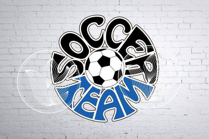 Digital Soccer team Word Art with Soccer ball, png, eps, svg