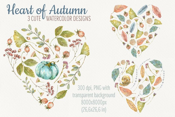 Heart of Autumn. Watercolor compositions