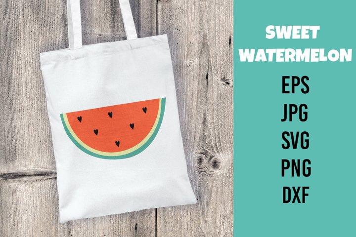 Watermelon. Vector flat illustration. SVG/PNG/DXF/EPS/JPG