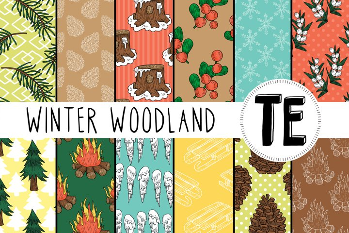 12 Winter Woodland Seamless Patterns - Christmas Papers