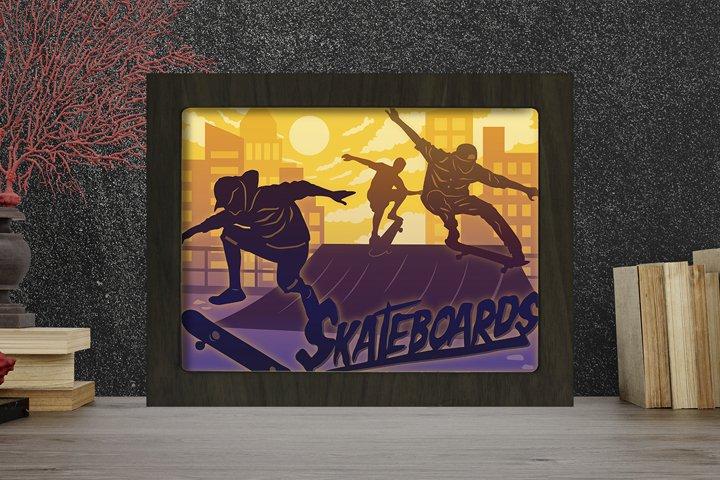 Skateboards 3D Paper Cutting Light Box - Shadow Box