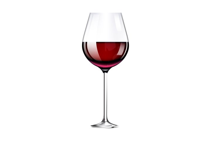 Wineglass with burgundy wine realistic vector illustration