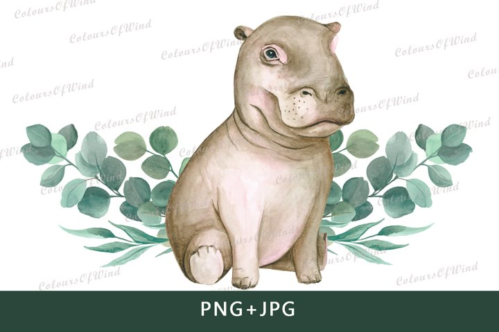 Watercolor hippo sublimation clipart. T-shirt transfer
