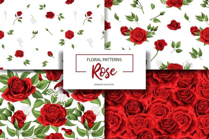 Rose flower seamless pattern background texture set