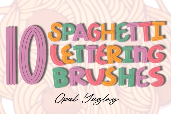 Procreate Brushes/ 10 Spaghetti Lettering Brushes / iPad