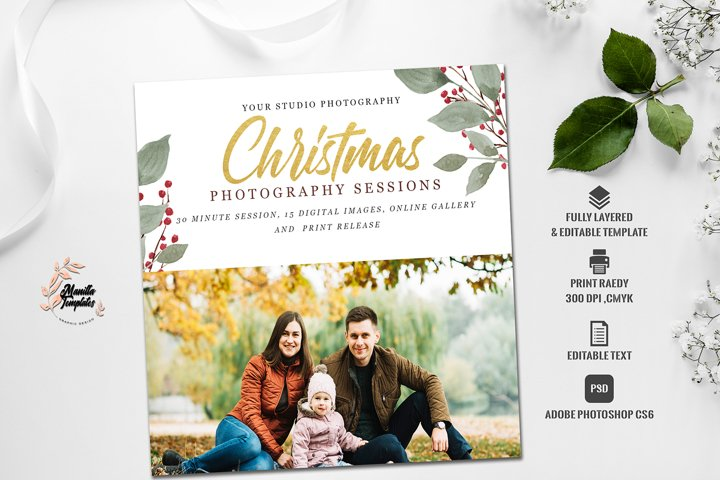 Christmas mini session template, photography session templat