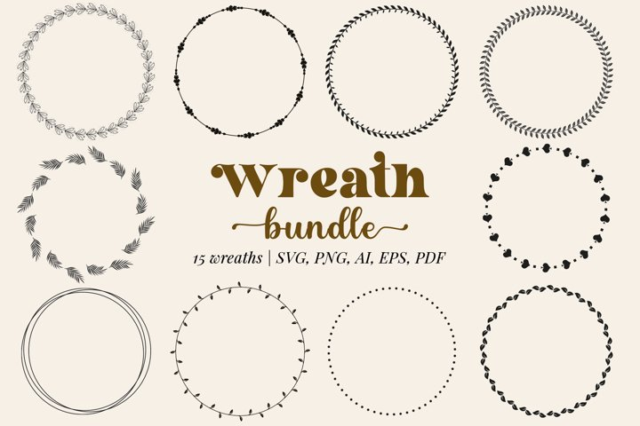 Wreath SVG| 15 files in SVG, PNG, EPS, AI, PDF