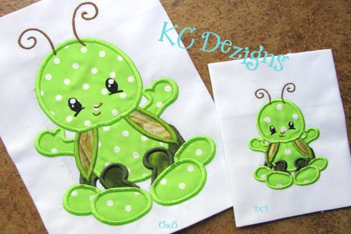 Baby Bug Grasshopper Machine Applique Embroidery Design