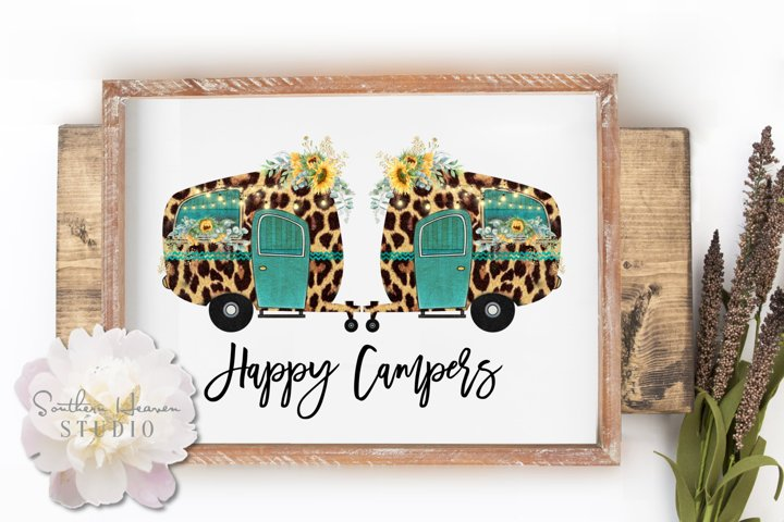 HAPPY CAMPERS, SUNFLOWERS & LEOPARD, BLK - PNG