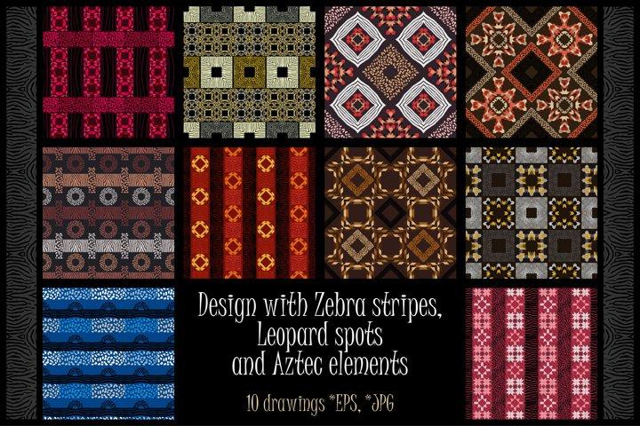 Design with Zebra stripes, Leopard spots and Aztec elements.