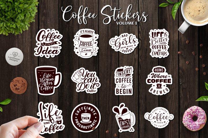 Sticker Bundle   12 Coffee Stickers with White Border Vol1